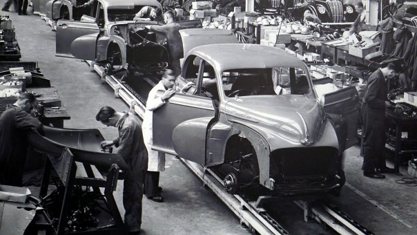 Car being assembled in a factory
